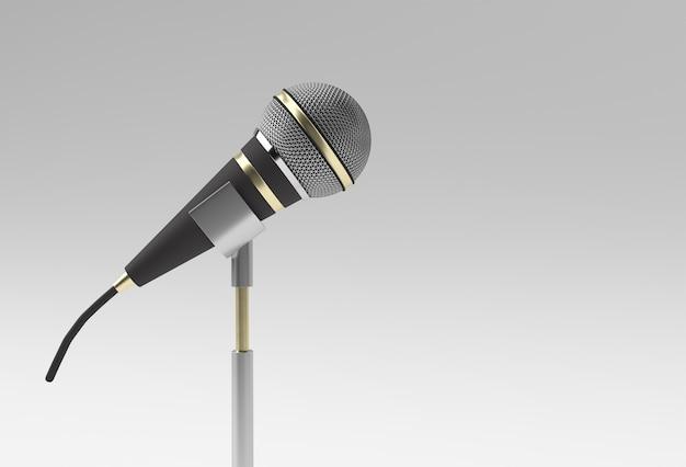 3d render ретро микрофон на короткой ножке и подставке, шаблон модели музыкальной премии, караоке, радио и звуковое оборудование студии звукозаписи.
