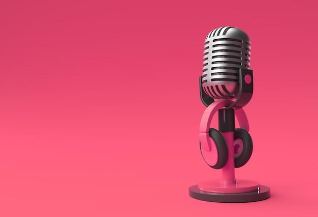 短い脚の3dレンダリングレトロマイクとヘッドフォン3dイラストレーションデザインのスタンド。