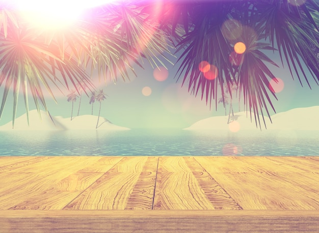 3d render of a retro styled image of a wooden deck looking out to a tropical landscape