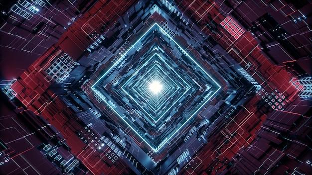 3d render rhombus futuristic neon tunnel in 4k