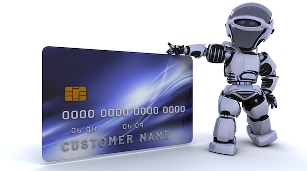 3d render of a robot and charge card
