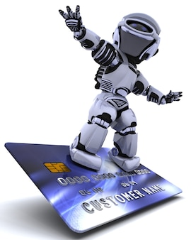 3d render of a robot and a credit card