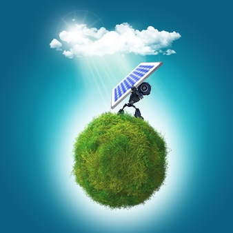 3d render of a robot holding a solar panel on a grassy glboe