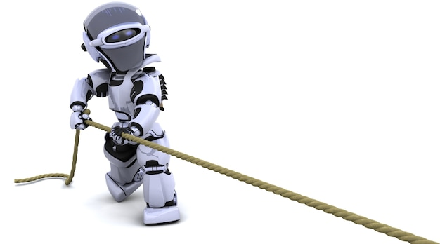 3d render of robot pulling on a rope