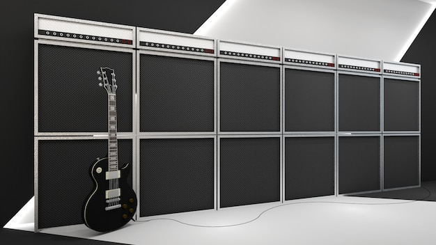 3d render of rock and roll style and amplifier