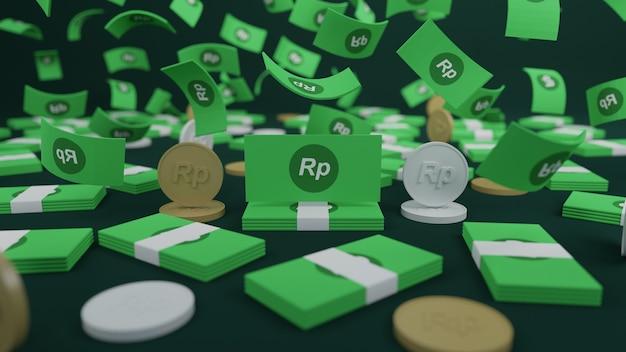 3d визуализация стопки банкнот рупий и монеты, падающие на черном фоне