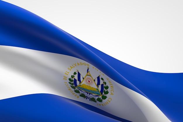 3d render of the salvadorian flag waving.
