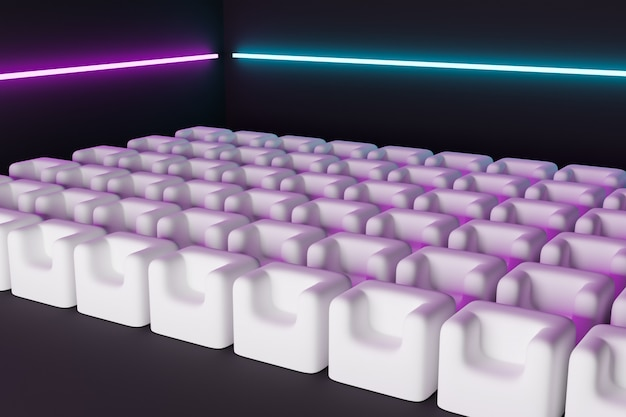 3d render the same rows of white cartoon soft chairs in the theater. concept of a neon beautiful movie theater with marshmallow chairs