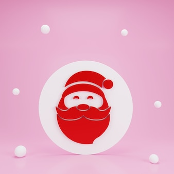 3d render santa claus ornament with snow on pink background