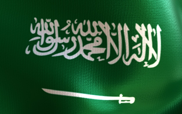 3d визуализация флаг саудовской аравии с текстурой