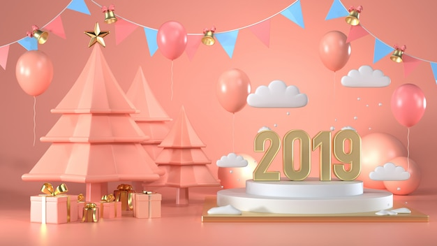 3d render of scene decorate christmas tree and gift box on christmas day 2019