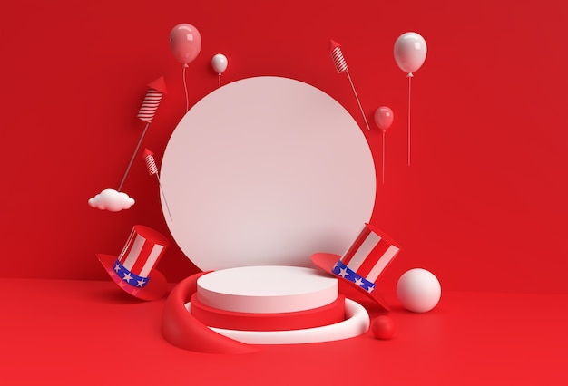 3d render scene of minimal podium scene for display products advertising design. 4th of july usa independence day concept.