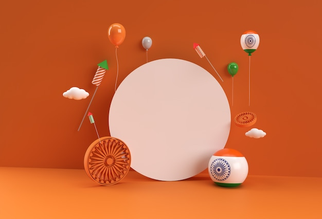 3d render scene of minimal podium scene for display products advertising design. india independence day concept.