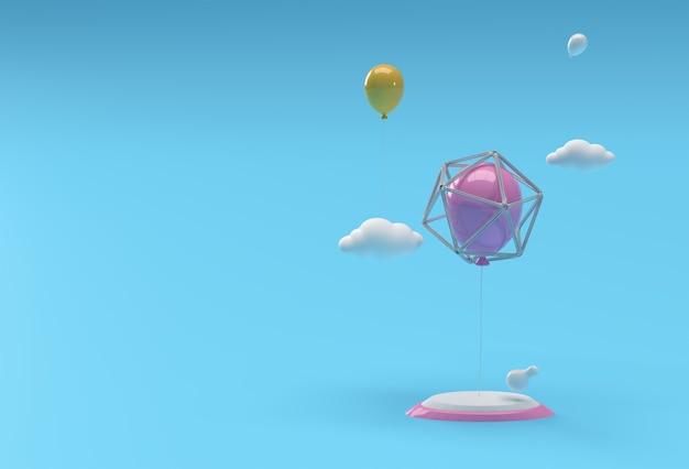 디스플레이 제품 광고 디자인을 위한 최소 연단 장면의 3d 렌더링 장면.