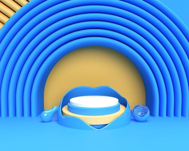 ディスプレイ製品の広告デザインのための最小限の表彰台シーンの3dレンダリングシーン。