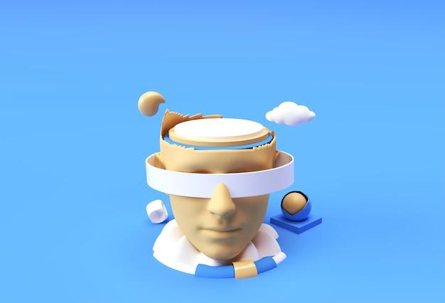 ディスプレイ製品の広告デザインのための人間の顔を持つ最小限の表彰台シーンの3dレンダリングシーン。