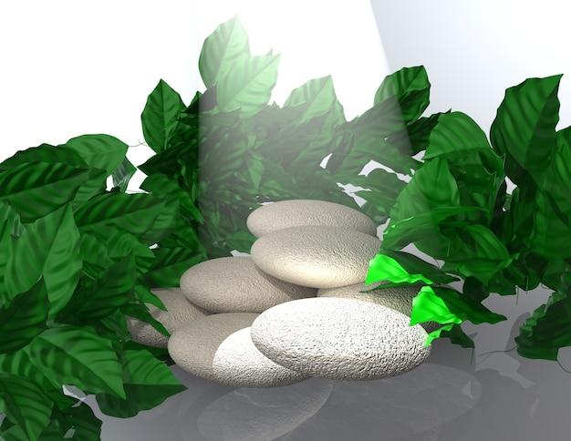 葉の背景を持つ3dレンダリングシーンの表彰台ディスプレイ。