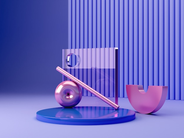 3d render scene with geometrical forms. blue plastic podium with primitive pink metallic shapes in a textured abstract blue background.