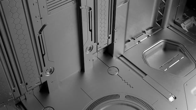 3d 렌더링 공상 과학 높은 상세한 표면입니다. 복잡한 형태와 모양이 있는 미래의 배경. 기술 그림입니다.