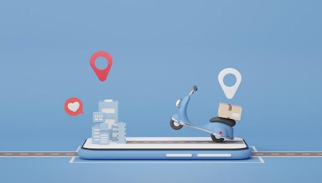 3d визуализация доставка посылки на скутер по дороге и городу дизайн интернет-магазина для макета