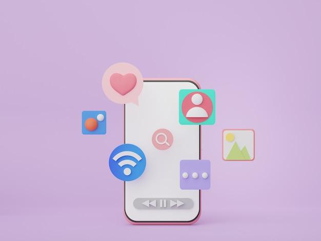 3dレンダリングseoデータをsmarthphoneで分析webバナーとモックアップのユーザーインターフェイス