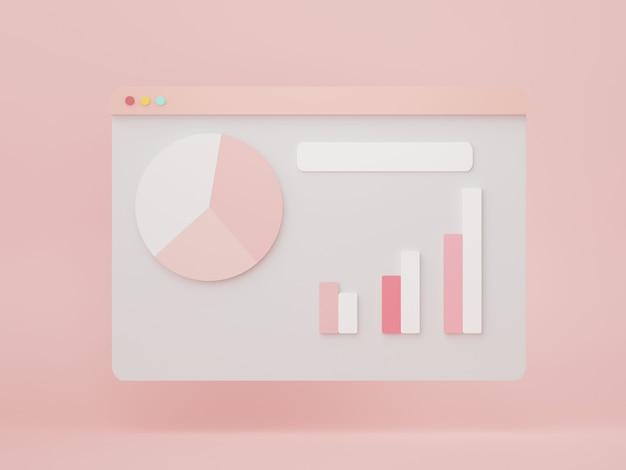 将来の計画のための3dレンダリングseoデータ分析ユーザーインターフェイスビジネスグラフチャート