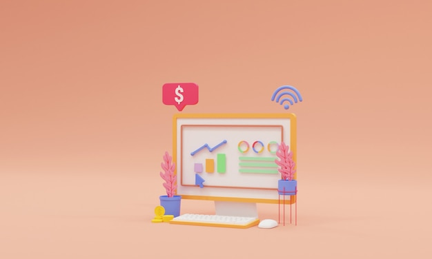 3d render seo optimization, and seo marketing concept