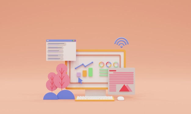 3d render seo optimization and seo marketing concept