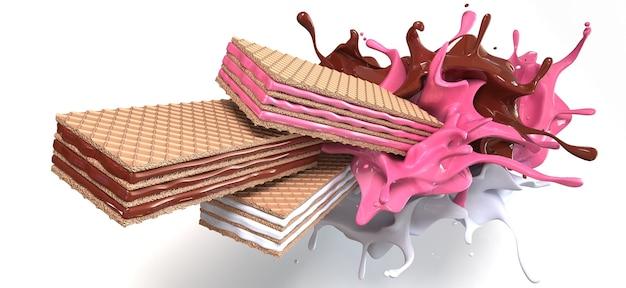 3d визуализации сделать хрустящий вафельный шоколадный всплеск всплеск клубники и ванили или молочного всплеска