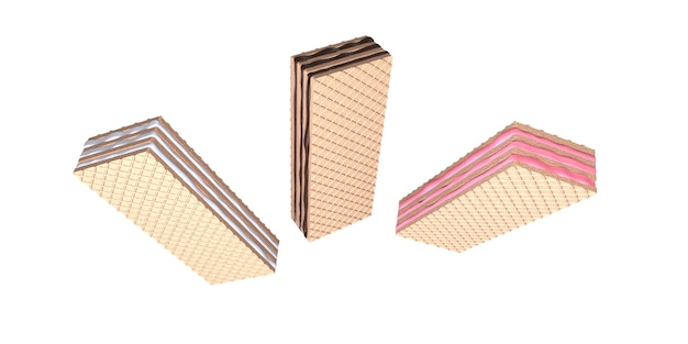 3d render set crispy wafer chocolate strawberry and vanilla are realistic be tasty and bea