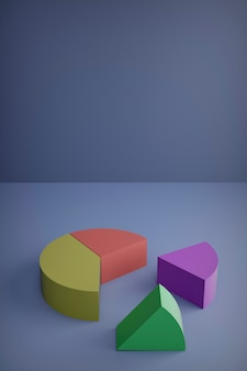 3d render, set of different pie chart