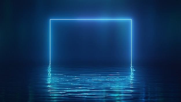 3d render shining blue neon square over water