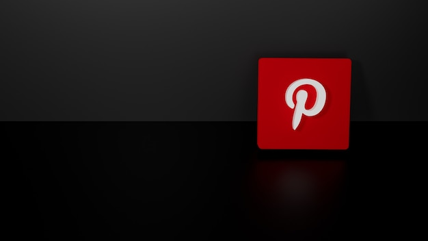 3d render of shiny pinterest logo on black dark background