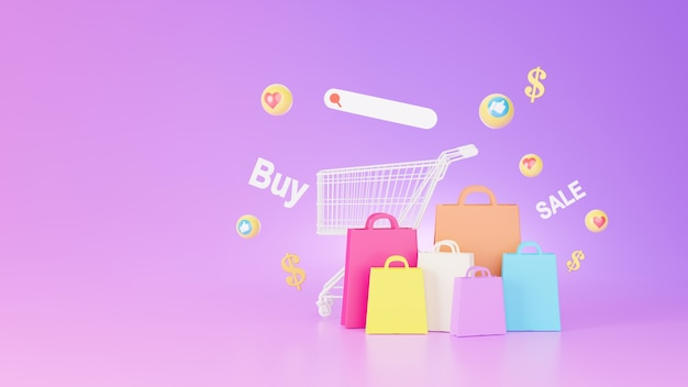 3d render of shopping bag and online shopping store concept