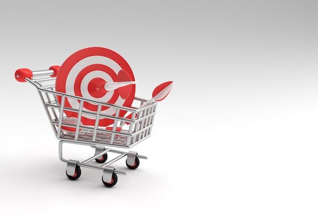 3d render shopping cart bulls eye increase sales target with arrow 3d design.