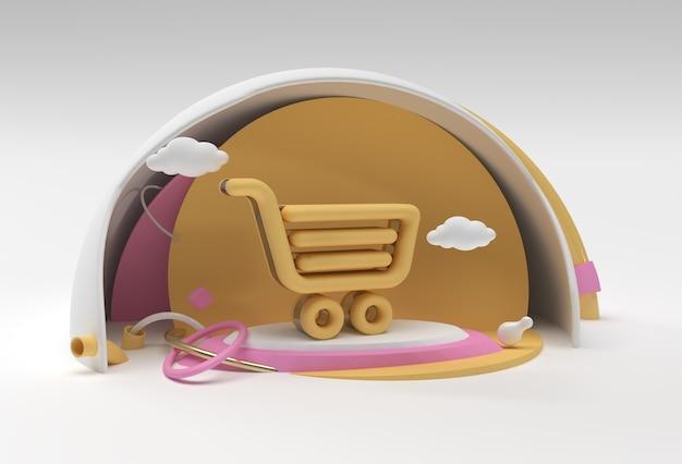 3d render shopping cart icon 3d illustration design.