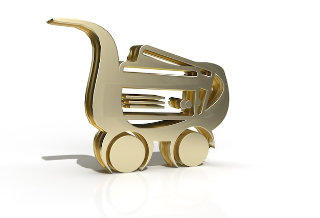 3d render shopping cart icon illustration design pen tool created clipping path included in jpeg easy to composite.