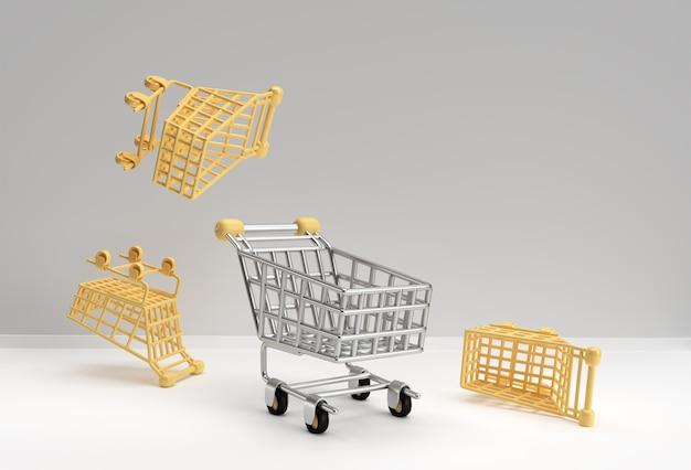 3d render shopping cart icon illustration design.