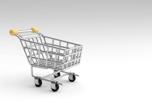3d 렌더링 쇼핑 카트 아이콘 그림 디자인입니다.