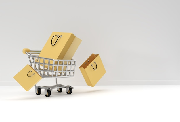 3d render shopping cart with shopping bag icon illustration design.