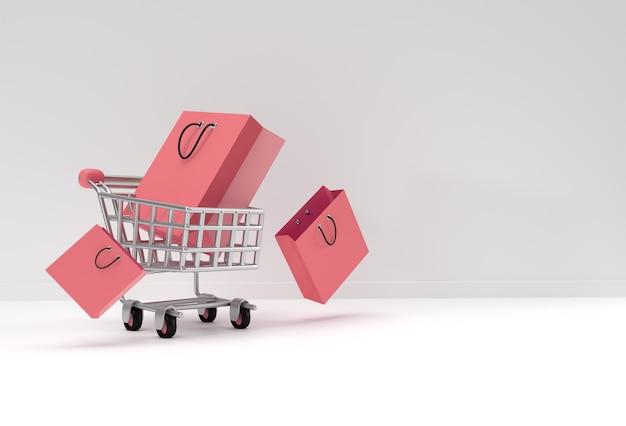 쇼핑백 아이콘 일러스트 디자인으로 3d 렌더링 쇼핑 카트.