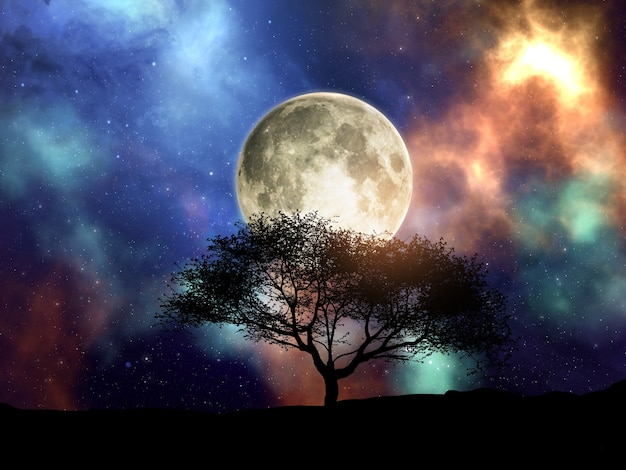3d render of a silhouette of a tree against a space sky with moon