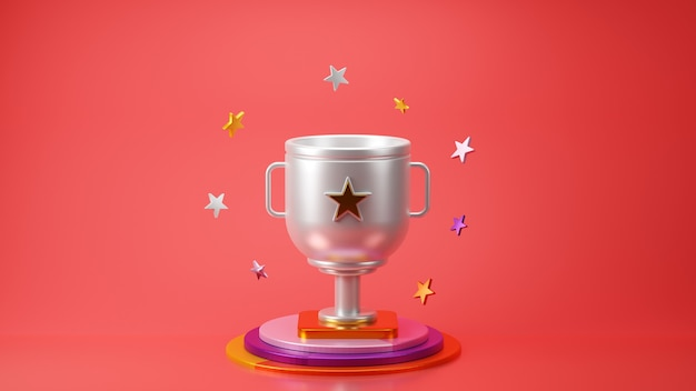 3d render of silver trophy with star on red background