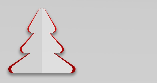 3d render of a simple christmas card in christmas tree shape