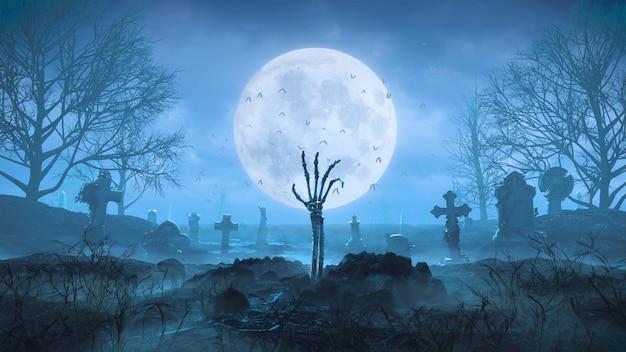 3d рендеринг рука скелета вылезает из-под земли ночью на фоне луны на кладбище