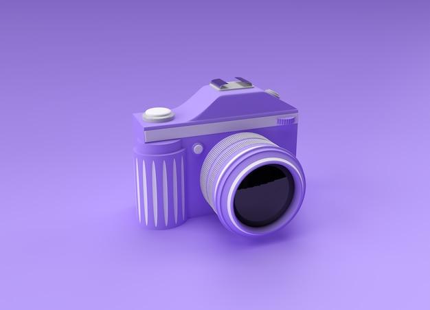 3d render slr camera on a color illustration.
