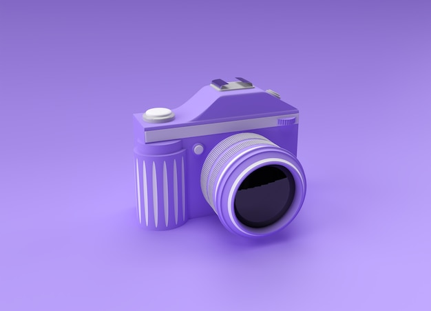 컬러 그림에 3d 렌더링 slr 카메라입니다.