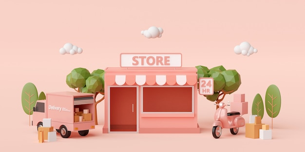 3d render small convenience store with trees on light pink background