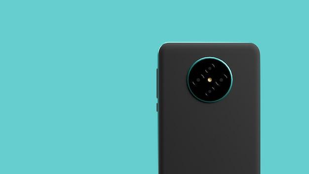 3d-рендеринг задней крышки смартфона с бирюзовой металлической рамкой и фоном