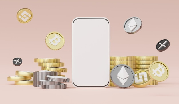 3d визуализация смартфона для работы с криптовалютой bitcoin ethereum binance и ripplecoin